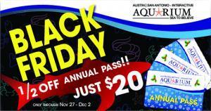 Austin Aquarium Annual Pass Black Friday 1/2 Off Deal Discount Tickets