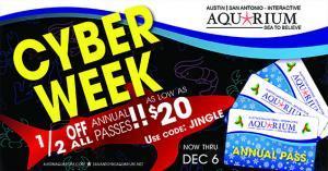 Austin Aquarium Cyber Monday Week Annual Pass Membership Discount Holiday